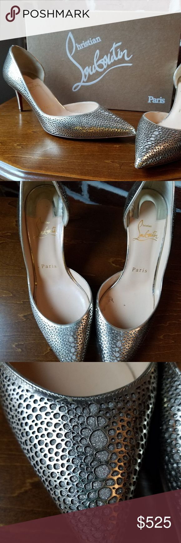 Authentic Christian Louboutin 70 pumps, size 36 Authentic Christian Louboutin Galupump Laser-Cut Patent Leather 70mm heel, size 36. Comes with original box, 2 shoe pouches, and replacement heel taps. Like new.  Worn only once on carpet so red bottoms are like new! Christian Louboutin Shoes Heels