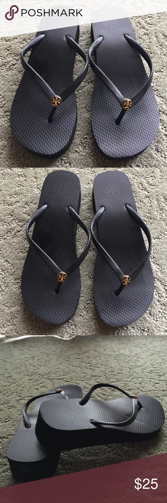 "Tory Burch Classic Wedge Flip Flops in Black Tory Burch Classic Wedge Flip Flops in Black, in great condition! Wedge is 1.6"" high, size is 8 - great deal!! Tory Burch Shoes Sandals"