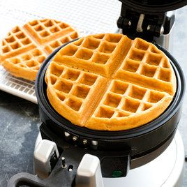 Classic Buttermilk Waffles from America's Test Kitchen. -- We wanted a waffle recipe that produced crisp-on-the-outside, creamy-on-the-inside waffles. We found that a thick batter lets the outside of the waffle become crisp while the inside remains custardy. Buttermilk made our batter extra thick.