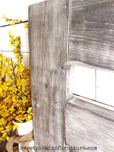 Aging new wood with milk paint and vinegar - {show & tell}