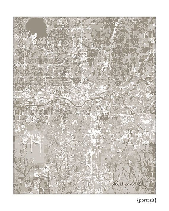 Oklahoma City Cityscape / OKC Map Art Print City Wall Art / 8x10 Poster / Choose your color