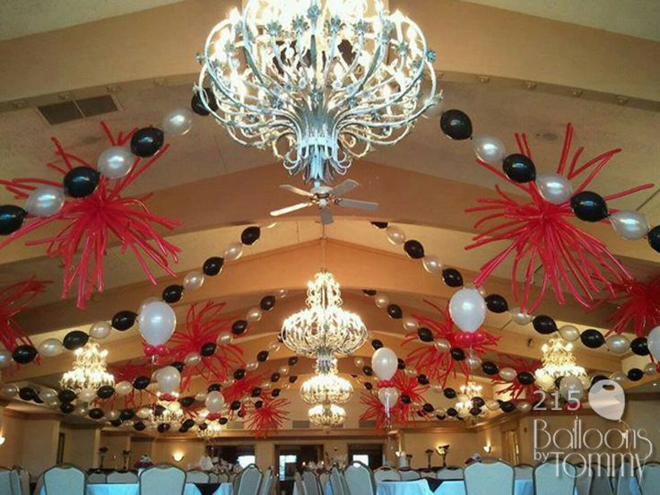 Using The Existing Decor We Used Beaded Swags Of Balloons
