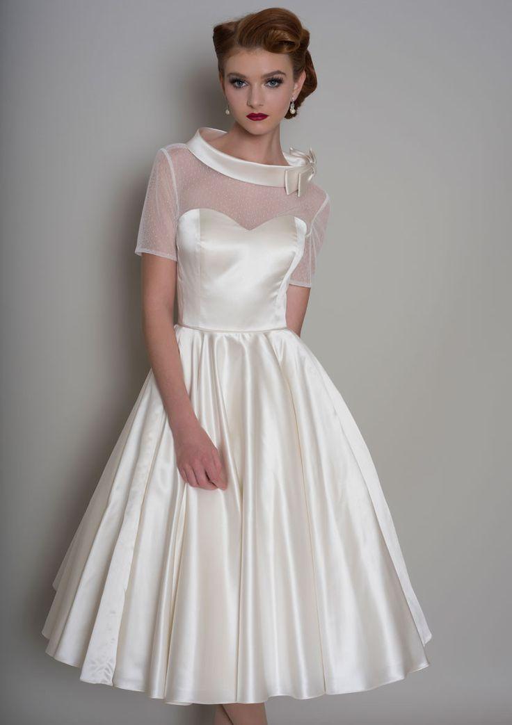 86-Hattie - Vintage inspired tea length satin wedding dress