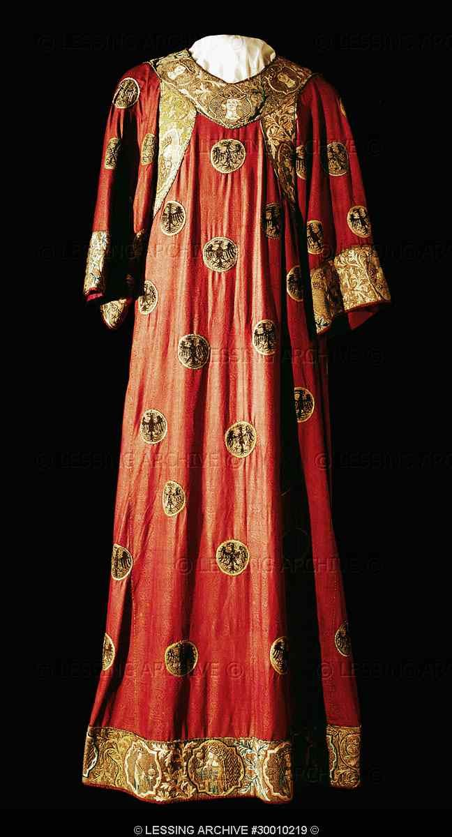 The Eagle Dalmatica worn for the coronation by Emperors of the Holy Roman Empire (Duerer painting of Charlemagne).Chinese damask, purple silk embroidery with medallions and ospreys, eagles with enamel eyes. Around 1300 See 30-01-02/19-22 Inv. XIII 15   #Byzantine #garb #SCA