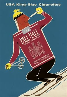 vintage ski poster by PADDEN, DAPHNE PALL MALL lithograph in colours, c.1957