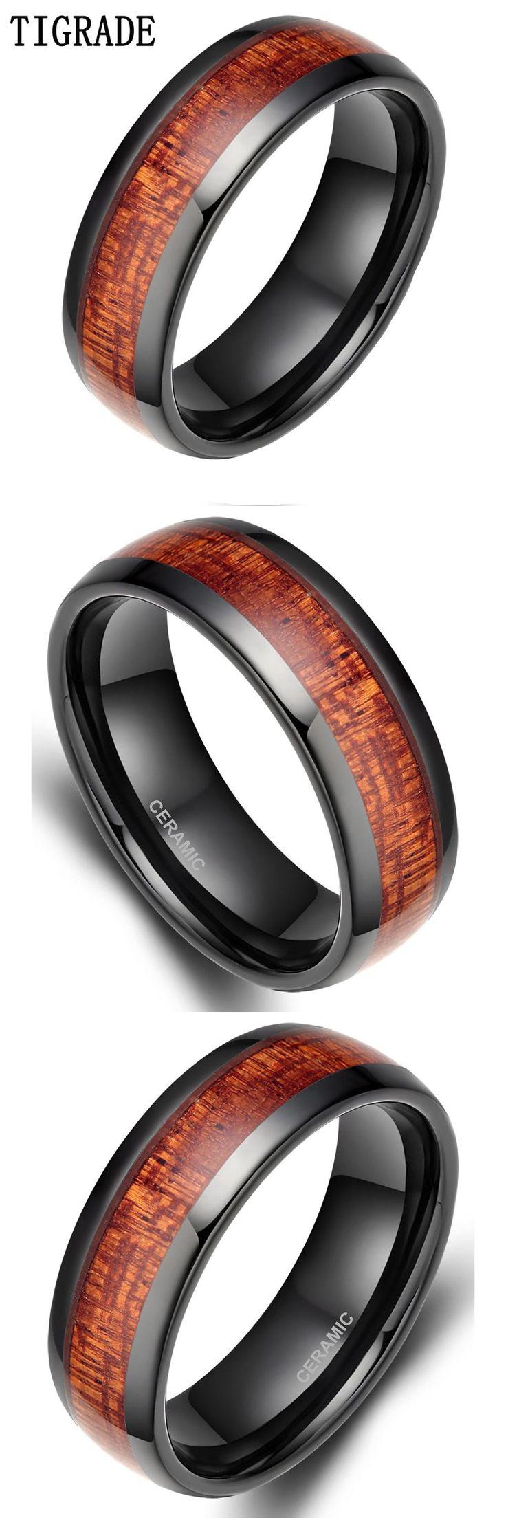 [visit To Buy] Tigrade 8mm Black Red Wood Grain Ceramic Ring Men Wedding  Band