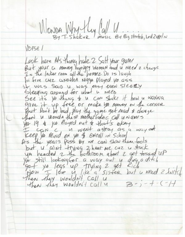"""You Can Buy Tupac's Handwritten Lyrics For Only $54,000 They're up for auction in honor of the twentieth anniversary of the rapper's death  If you've ever wanted to own a piece of hip-hop history, now's your chance. Handwritten lyrics by 2Pac are now up for auction. And they'll only cost you $54,000. Celebrity memorabilia site Moments In Time is selling the handwritten lyrics to """"Wonda Why They Call U Bitch."""" The track appeared on his last studio album All Eyes on Me which he wrote shortly…"""