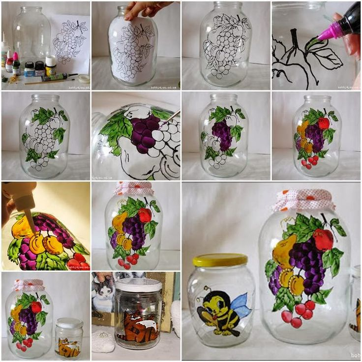 Frascos de Vidrio Pintados