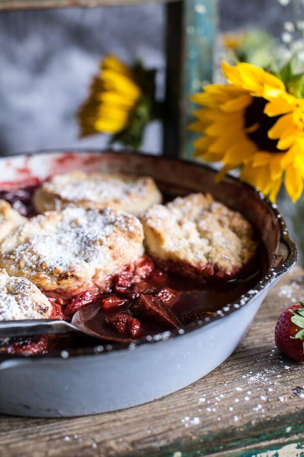 Skillet Strawberry Cobbler with Cream Cheese Swirled Biscuits   halfbakedharvest.com @hbharvest
