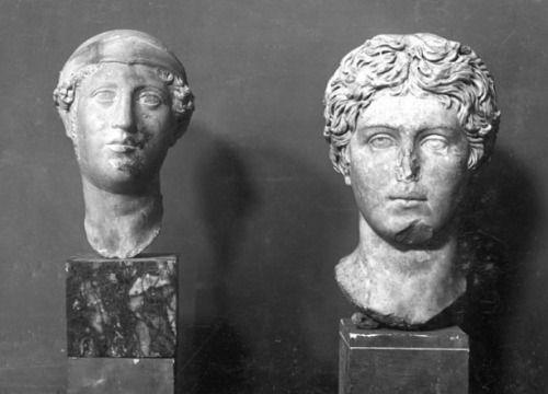 left - head of athena, right - portrait of a young man / found in the the domus di amore e psiche, c. 220-250 AD / museo ostiense