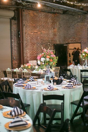 Spring Wedding / Atlanta Georgia / King Plow Arts Center / Mint green / Black and White stripes
