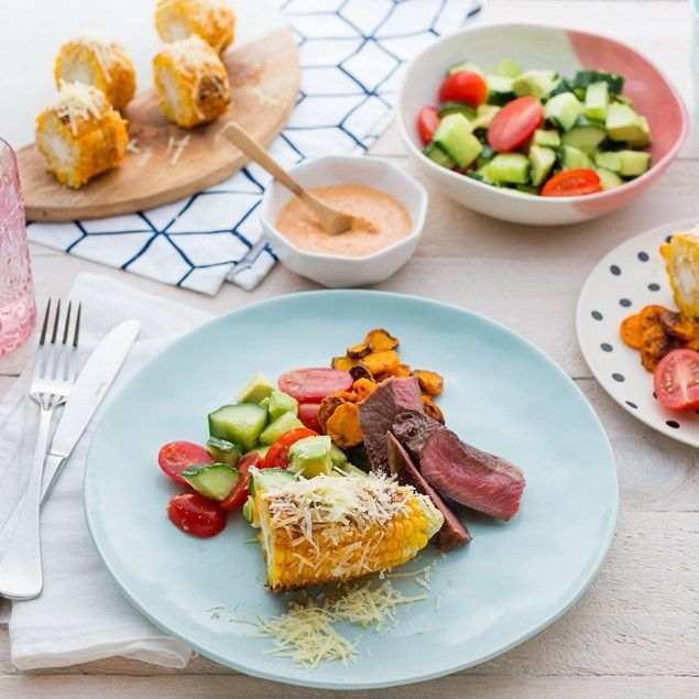 Beef Sirloin Steak with Carrot Chips and Moroccan Dip