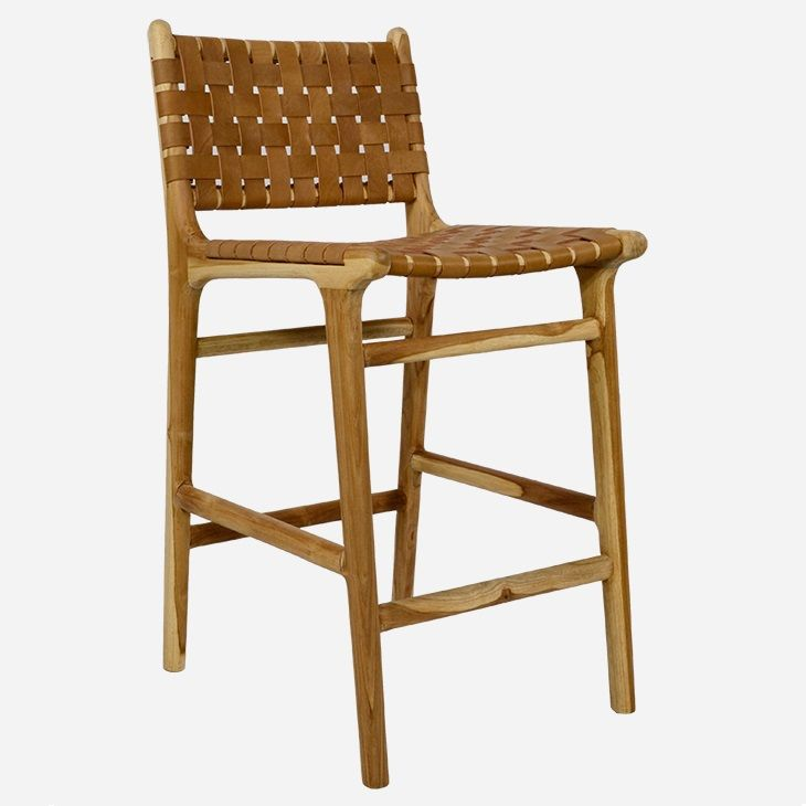 As seen in Josh & Elyse's Study Nook in The Block 2017. Danish designed dining stool, timber frame with leather strapping.