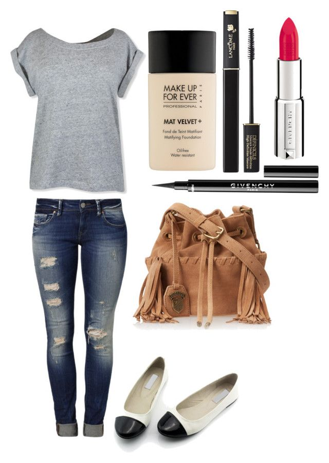 April Ludgate inspired outfit by jeanettefailano on Polyvore featuring polyvore, fashion, style, Mavi, Juicy Couture, MAKE UP FOR EVER, Lancôme, Givenchy, clothing, parksandrec, aprilludgate and aubreyplaza
