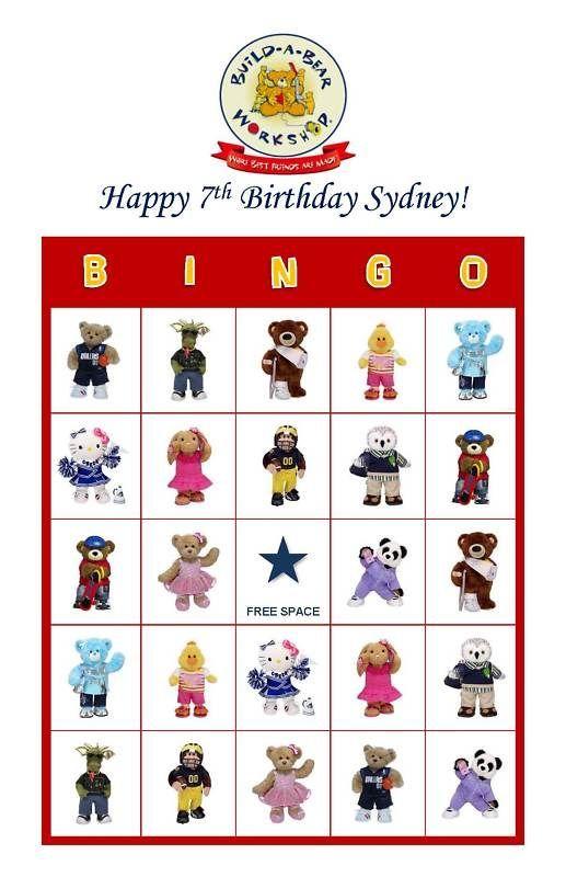 Build A Bear Bingo