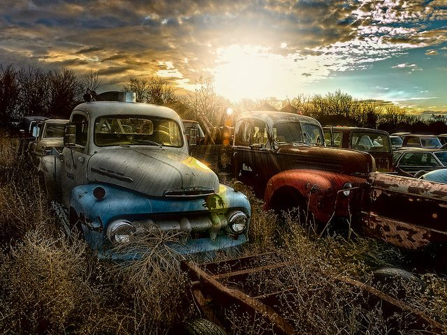 Nice on a BLACK background here: www.flickr.com/photos/the_kav/8245587917/in/photostream/l... This is a re-edit of one of my favorite locations. The sun was coming up over this farmers yard full of old trucks and cars. I have applied my new editing techniques to this multiple image HDR. This picture is available for purchase over at RedBubble: www.redbubble.com/people/thekav/portfolio