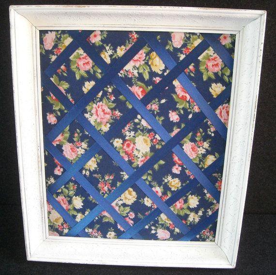 Bespoke floral notice board in vintage frame by HandmadeByFiona, $60.00
