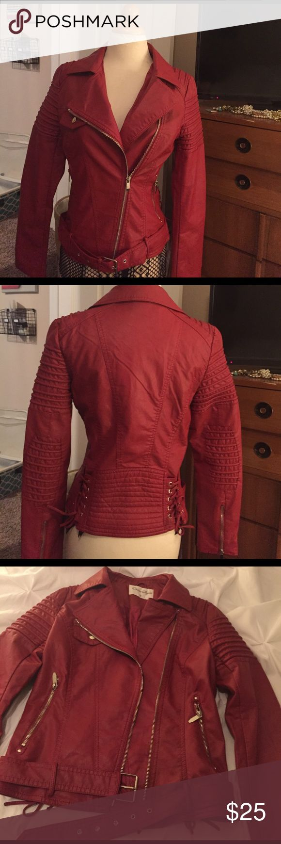 Red leather jacket NWOT Awesome red leather jacket with lace up detail in the back. I bought this but it was too small Jackets & Coats
