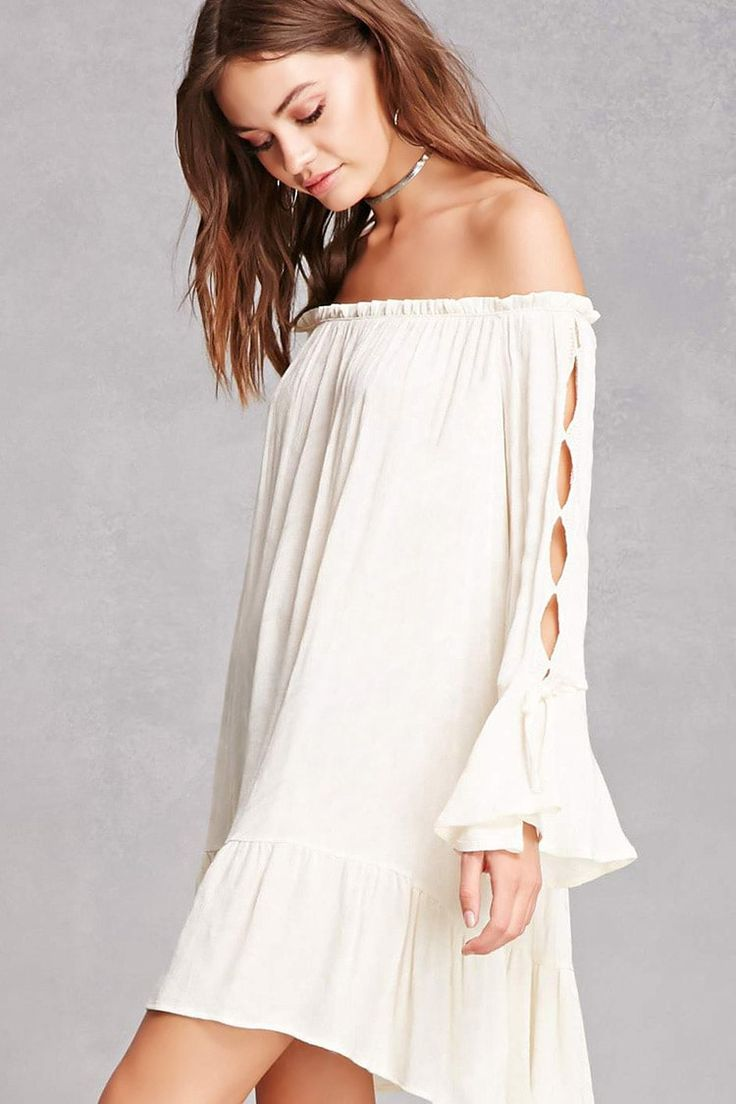 A semi-sheer woven mini dress featuring an allover geo weave design, an elasticized off-the-shoulder neckline, long trumpet sleeves with cutout geo crochet trim and a self-tie accent, and a flared tiered-seam hem.<p>- This is an independent brand and not a Forever 21 branded item.</p>