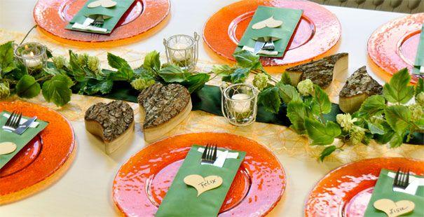 Tischdeko Orange/Dunkelgrün  Tischdeko Herbst  Pinterest