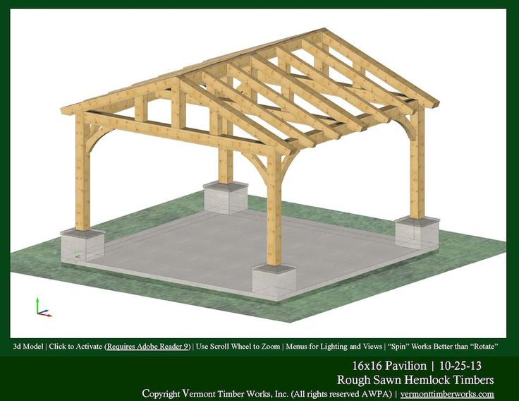 Plans perspectives and elevations of timber pavilions for Pavilion blueprints