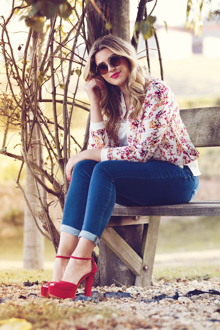 Look do dia: bomber floral + jeans — Niina Secrets