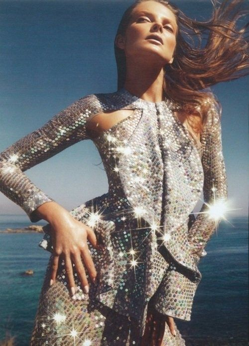 silver sequins // supermodel // fashion editorial // sunlight // ocean
