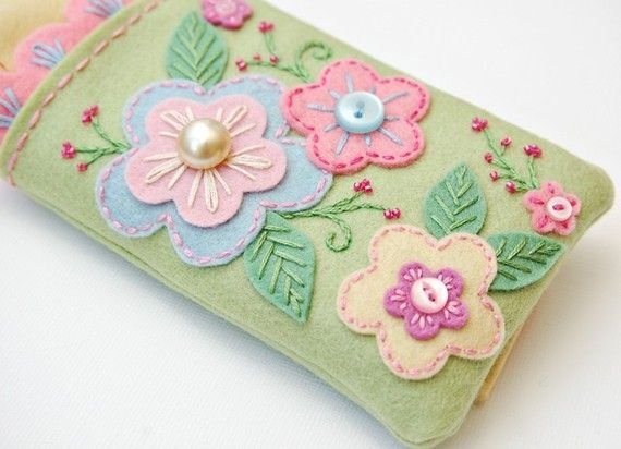 Beautiful iPhone Cozy - Pastel Garden.