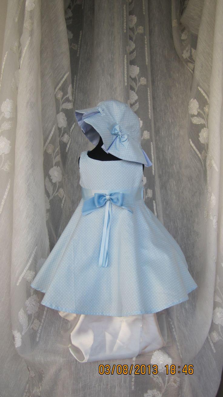 Vestito da bambina per cerimonia in tessuto di cotone americano con cappello e volant. madima74@hotmail.com