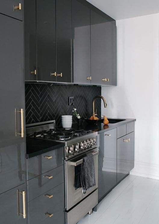 Gray Lacquer Cabinets with Gold Pulls, Contemporary, Kitchen