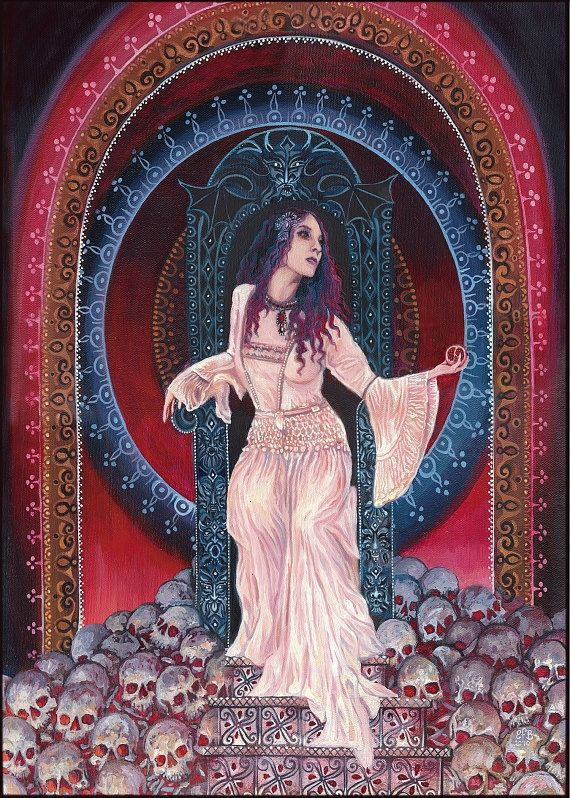 The decent of Persephone into the underworld. Queen of the Underworld Painting by Emily Balivet