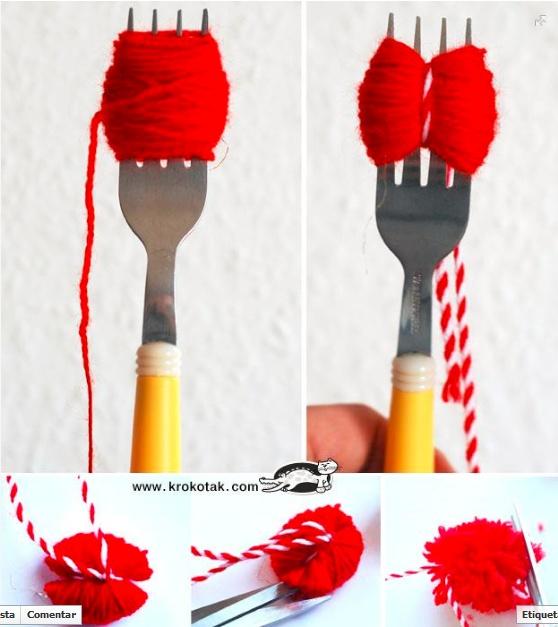 Pequeños pompones fáciles con tenedor.