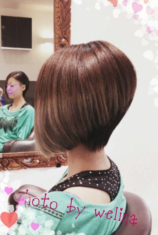 アシンメトリー ショートボブ サイドカット カリアゲ グラデーションカラー Short bob Hair cut Styles Ombre hair  color