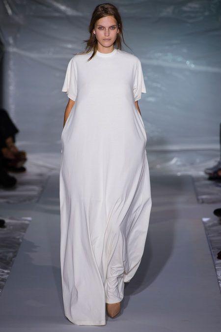 White T-shirt sleeve dress. Maison Martin Margiela, Ready-to-Wear Spring 2013. Model: Mirte Maas. Photo: Filippo Fior / GoRunway
