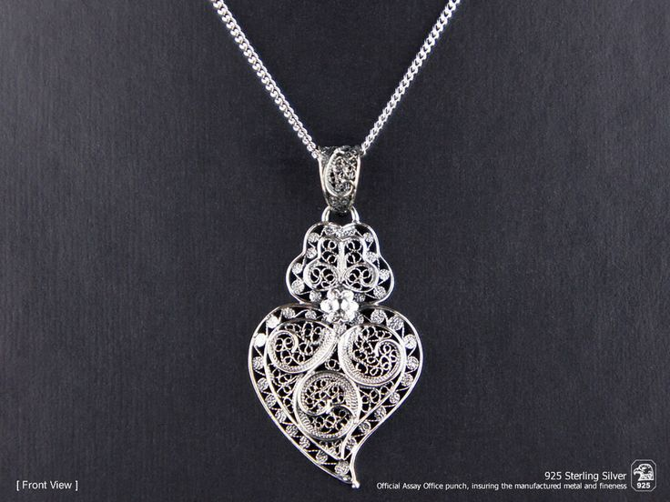 Portuguese Filigree PENDANT Viana (4.5cm) with Necklace Traditional in 925 Sterling Silver by NadirFiligree on Etsy