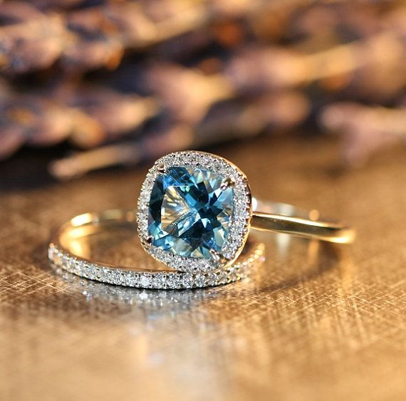 Cushion Swiss Blue Topaz Engagement Ring Wedding Set in 14k White Gold Half Diamond Eternity Band and 8x8mm Blue Gemstone Ring