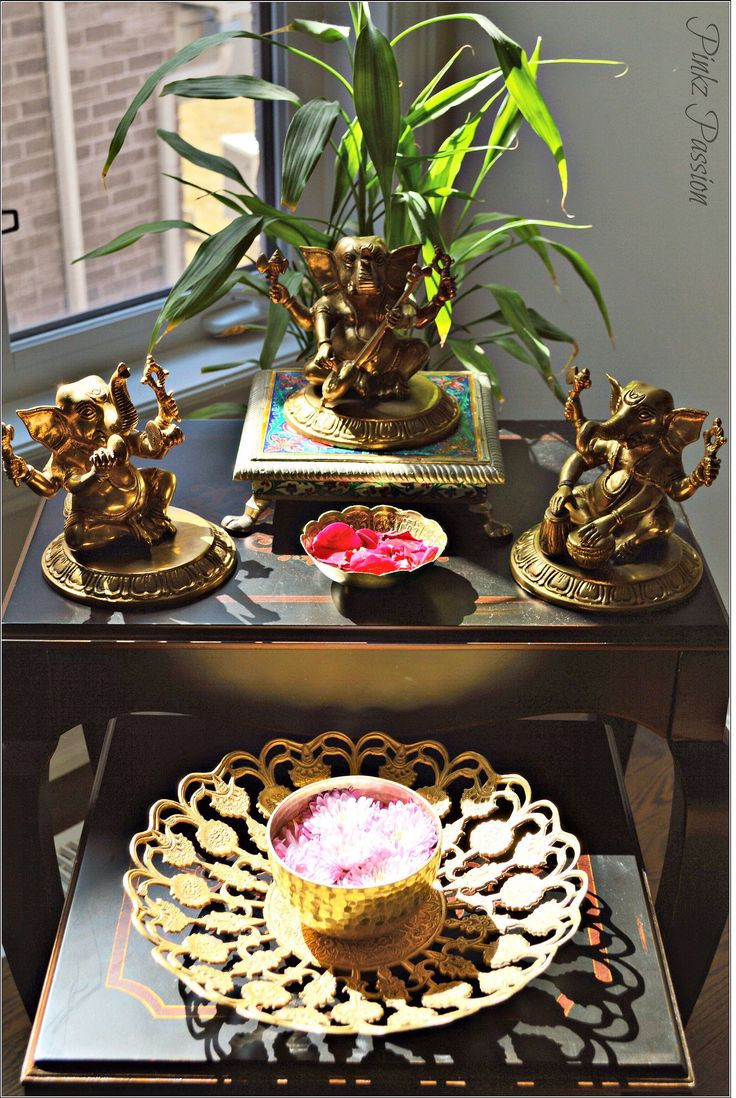 Indian inspired decor, ganesha, musical Ganesha, brass artifacts, sin kissed corners, brass Ganesha