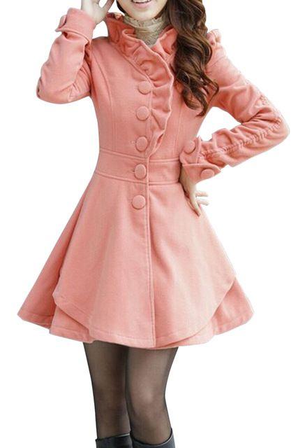 Moda Outono Inverno das Mulheres Misturas de Lã Brasão Trench Coat Long Slim Jacket rosa vermelha Rosa Azul Cáqui Tamanho M-XXXL