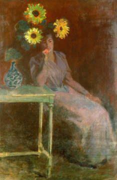 digitaler Kunstdruck, individuelle Kunstkarte: Claude Monet, Sitzende Frau neben einer Vase mit Sonnenblumen