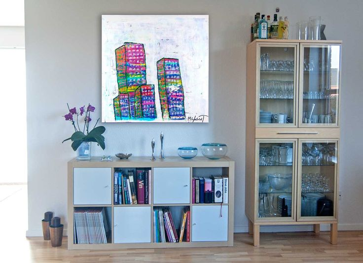 DECORATING IDEAS FOR YOUR HOME  City Line II  100x100 cm  Art by Lønfeldt - Art original acrylic abstract paintings