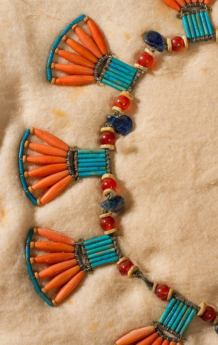 Ancient Egyptian Coral Hardstone  Fan Necklace.  by Myers Auction Gallery