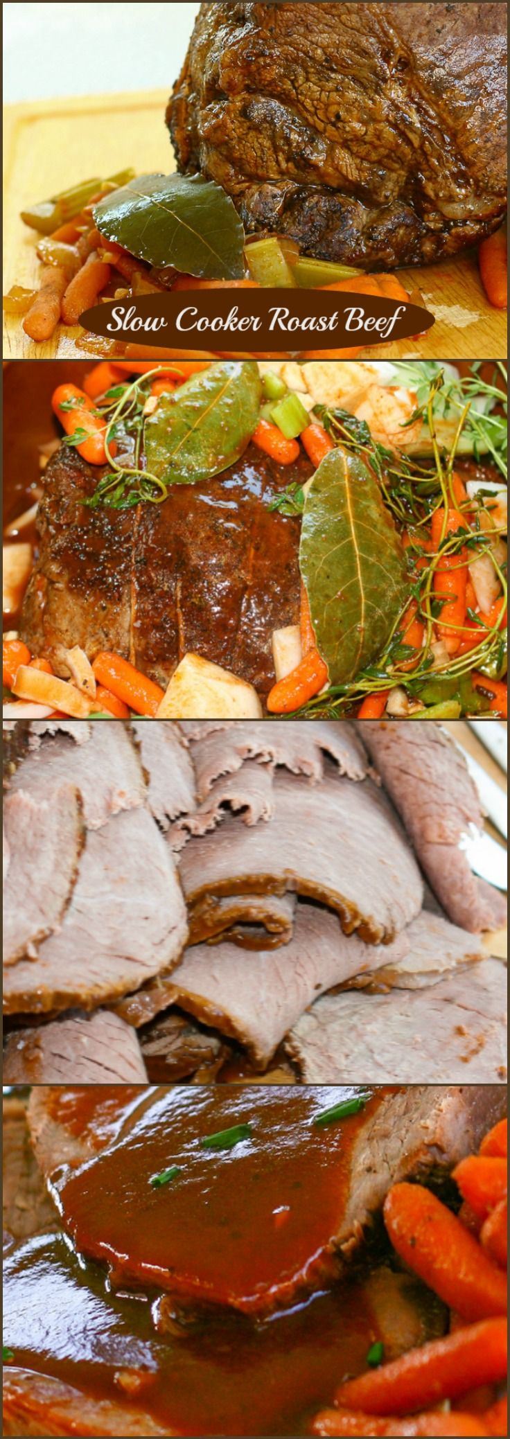 This recipe for Slow Cooker Roast Beef is cooked in an amazingly flavourful broth that uses both red wine and Guinness Beer! Slow cooking the beef makes an incredibly tender roast.