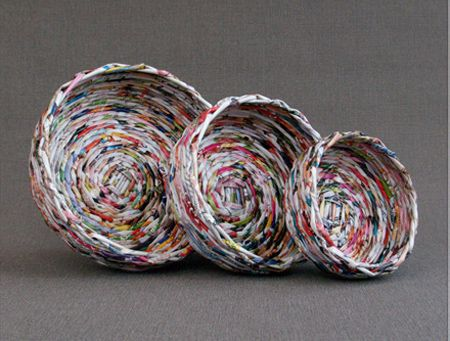 Hacer papel en rollos de '' mimbre cestas redondas cestas