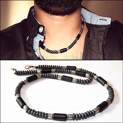 Mens Choker Necklace Onyx Necklace Mens Beaded Choker - Handmade - Gift for men