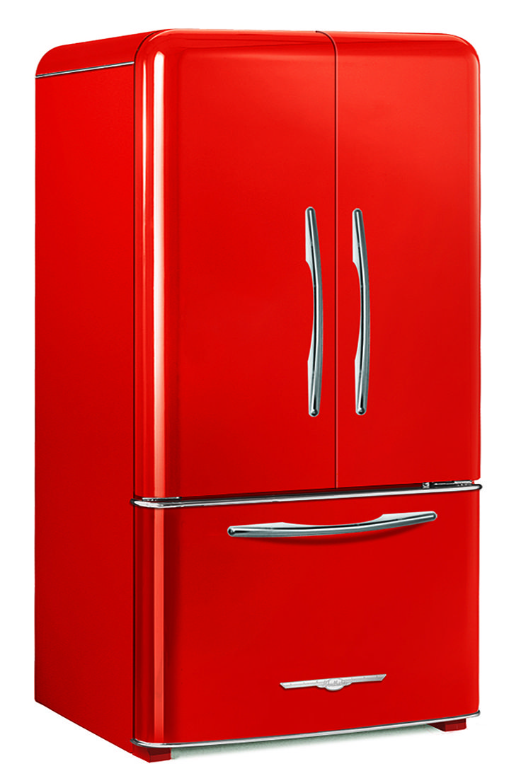 Antique vintage unfinished refrigerators - 1948 Northstar Candy Red French Door Refrigerator