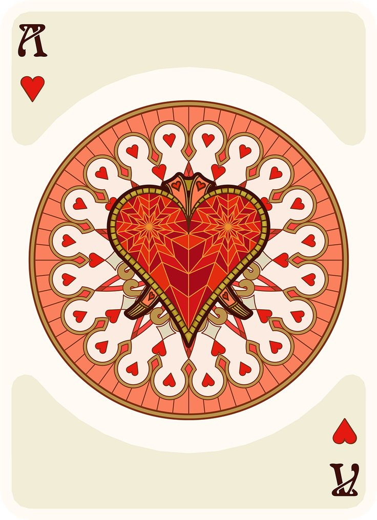 NOUVEAU Ace of Hearts - playing cards art, game, playing cards collection, playing cards project, cards collectors, design, illustration, card game, game, cards, cardist, cardistry