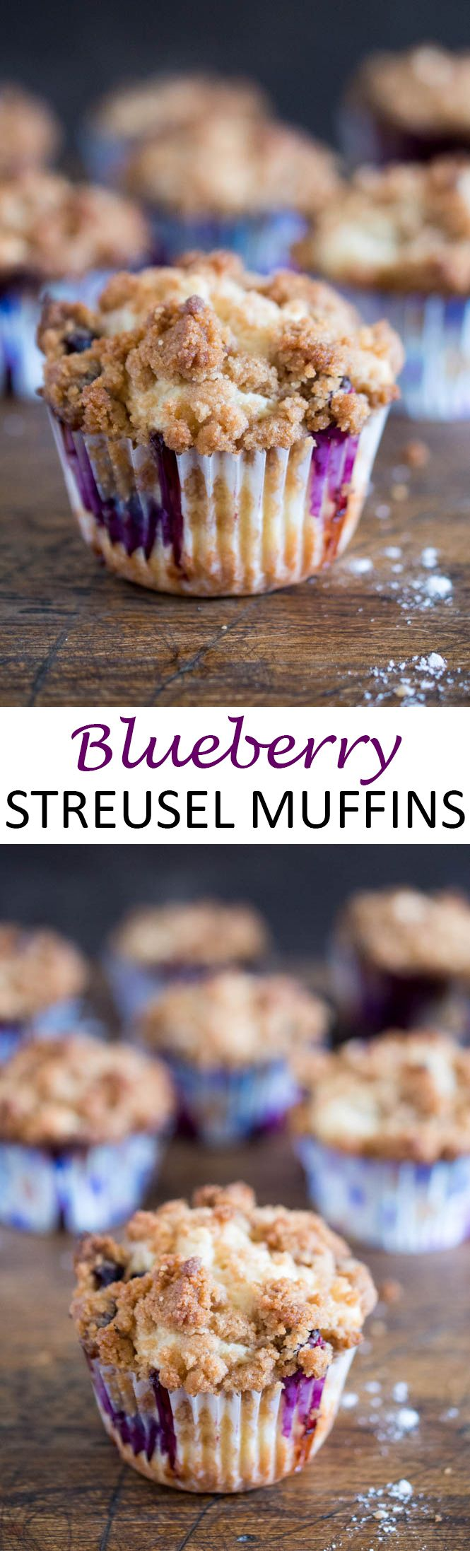 Bakery Style Blueberry Streusel Muffins. Loaded with fresh blueberries and sour cream for extra moist muffins.