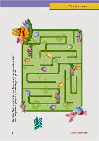 permainan anak balita/TK/SD, gambar maze (labirin), disney winnie the pooh