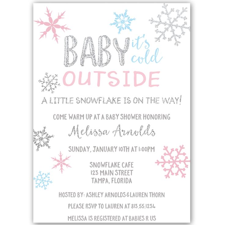 Little Snowflake Baby Shower Invitation - Invite guests to your gender neutral baby shower with this simple winter themed invitation featuring blue and pink snowflakes and decorative silver lettering on a snow white background.