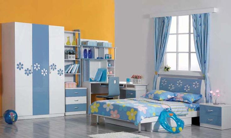 Two Tones Orange Grey Wall Color Mixed Pretty Kids Bedroom Sets With Flower Pattern